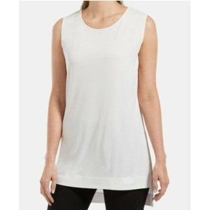 HUE® Sleeveless High-Low Tunic, White, Size: M